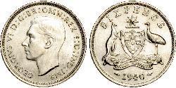 1 Sixpence Australien (1939 - ) Silber Georg VI (1895-1952)