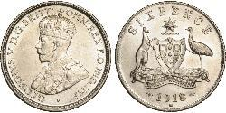 1 Sixpence Australia (1788 - 1939) Silver George V of the United Kingdom (1865-1936)