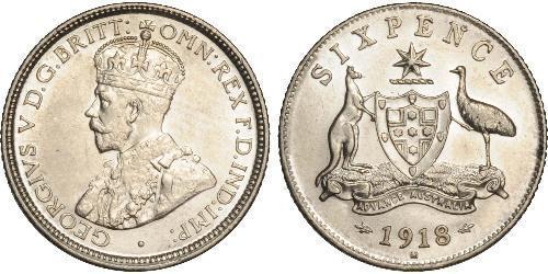 1 Sixpence Australia (1788 - 1939) Silver George V of the United Kingdom (1865-1936)