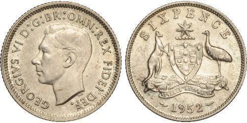 1 Sixpence Australia (1939 - ) Silver George VI (1895-1952)