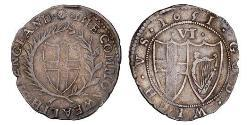 1 Sixpence Commonwealth of England (1649-1660) Silver