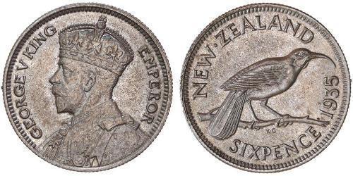 1 Sixpence 新西兰  乔治五世  (1865-1936)