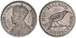 1 Sixpence New Zealand  George V of the United Kingdom (1865-1936)