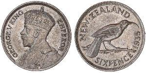 1 Sixpence Nueva Zelanda  Jorge V (1865-1936)