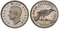 1 Sixpence Nuova Zelanda  Giorgio VI (1895-1952)