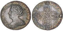 1 Sixpence / 6 Penny 大不列顛王國 (1707 - 1800) 銀 安妮 (英国女王) (1665-1714)
