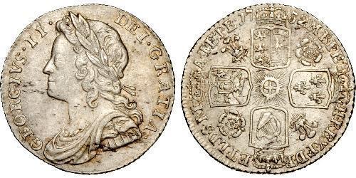 1 Sixpence / 6 Penny 大不列顛王國 (1707 - 1800) 銀 乔治二世 (大不列颠) (1683 - 1760)
