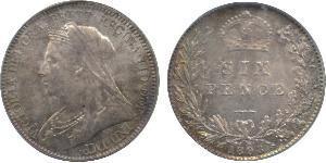 1 Sixpence / 6 Penny 大不列颠及爱尔兰联合王国 (1801 - 1922) 銀 维多利亚 (英国君主)