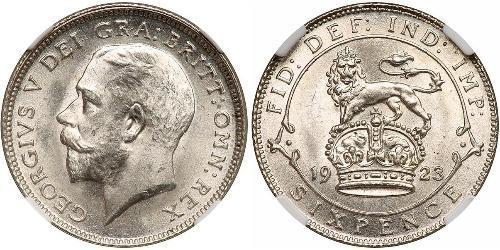 1 Sixpence / 6 Penny 大不列颠及爱尔兰联合王国 (1801 - 1922) 銀 乔治五世  (1865-1936)