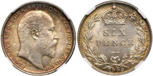 1 Sixpence / 6 Penny 大不列颠及爱尔兰联合王国 (1801 - 1922) 銀 爱德华七世 (1841-1910)