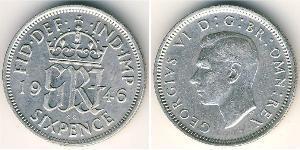 1 Sixpence / 6 Penny United Kingdom (1922-) 銀 乔治六世 (1895-1952)