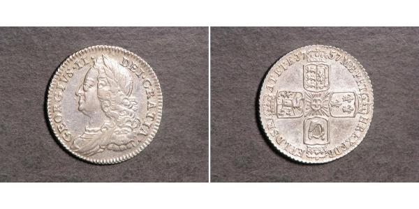 1 Sixpence / 6 Penny Royaume de Grande-Bretagne (1707-1801) Argent George II (1683-1760)