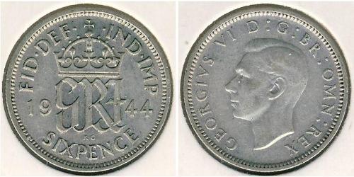 1 Sixpence / 6 Penny Regno Unito (1922-) Argento Giorgio VI (1895-1952)