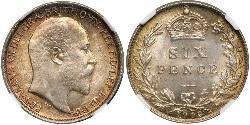1 Sixpence / 6 Penny Regno Unito di Gran Bretagna e Irlanda (1801-1922) Argento Edoardo VII (1841-1910)
