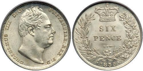 1 Sixpence / 6 Penny Regno Unito di Gran Bretagna e Irlanda (1801-1922) Argento Guglielmo IV (1765-1837)