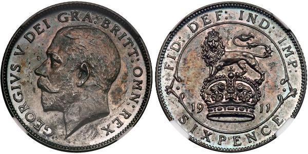 1 Sixpence / 6 Penny Regno Unito di Gran Bretagna e Irlanda (1801-1922) Argento Giorgio V (1865-1936)