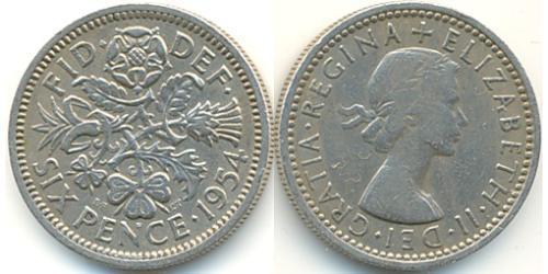 1 Sixpence / 6 Penny Reino Unido (1922-) Níquel/Cobre Isabel II (1926-)