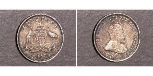 1 Sixpence / 6 Penny Australia (1788 - 1939) Plata Eduardo VII (1841-1910)