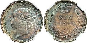 1 Sixpence / 6 Penny Reino Unido de Gran Bretaña e Irlanda (1801-1922) Plata Victoria (1819 - 1901)