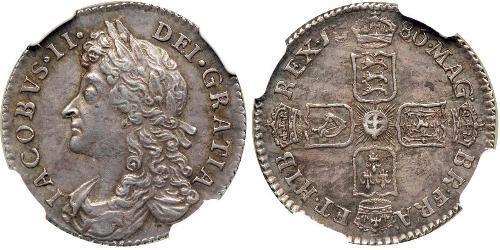 1 Sixpence / 6 Penny Reino de Inglaterra (927-1649,1660-1707) Plata Jacobo II (1633-1701)