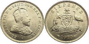 1 Sixpence / 6 Penny Australien (1788 - 1939) Silber Eduard VII (1841-1910)