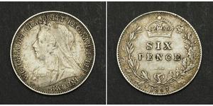 1 Sixpence / 6 Penny Vereinigtes Königreich von Großbritannien und Irland (1801-1922) Silber Victoria (1819 - 1901)