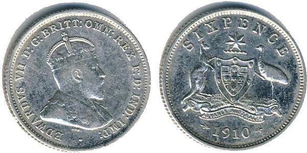 1 Sixpence / 6 Penny Australia (1788 - 1939) Silver Edward VII (1841-1910)