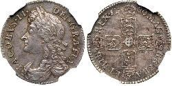 1 Sixpence / 6 Penny Kingdom of England (927-1649,1660-1707) Silver James II (1633-1701)