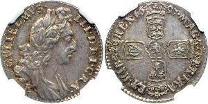 1 Sixpence / 6 Penny Kingdom of England (927-1649,1660-1707) Silver William III (1650-1702)