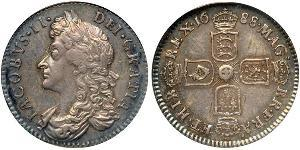 1 Sixpence / 6 Penny Kingdom of England (927-1649,1660-1707) Silver James II (1633-1701)