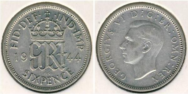 1 Sixpence / 6 Penny United Kingdom (1922-) Silver George VI (1895-1952)