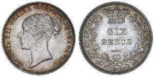 1 Sixpence / 6 Penny United Kingdom of Great Britain and Ireland (1801-1922) Silver Victoria (1819 - 1901)