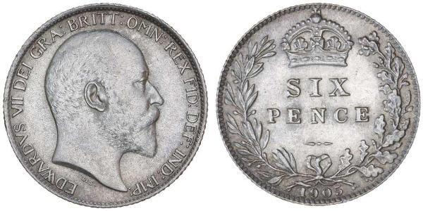 1 Sixpence / 6 Penny United Kingdom of Great Britain and Ireland (1801-1922) Silver Edward VII (1841-1910)