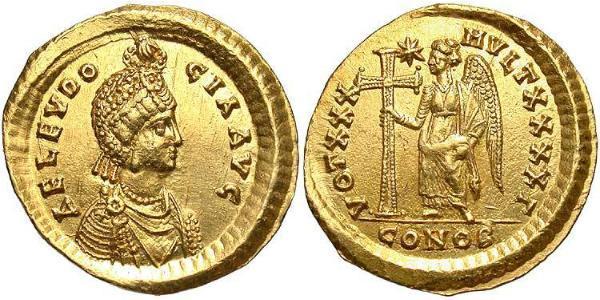 1 Solidus Imperio bizantino (330-1453) Oro Aelia Eudocia Augusta (401-460)