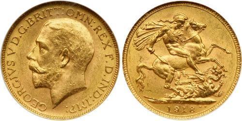 1 Sovereign 大不列颠及爱尔兰联合王国 (1801 - 1922) 金 乔治五世  (1865-1936)