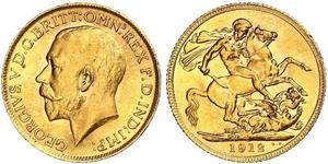 1 Sovereign United Kingdom of Great Britain and Ireland (1801-1922) Gold George V of the United Kingdom (1865-1936)