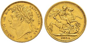 1 Sovereign Vereinigtes Königreich von Großbritannien und Irland (1801-1922) Gold Georg IV (1762-1830)