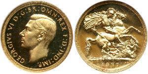 1 Sovereign Regno Unito (1922-) Oro Giorgio VI (1895-1952)
