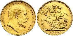 1 Sovereign Reino Unido de Gran Bretaña e Irlanda (1801-1922) Oro Eduardo VII (1841-1910)