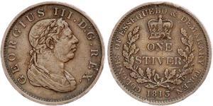 1 Stiver 大不列颠及爱尔兰联合王国 (1801 - 1922) 銅 喬治三世 (1738-1820)