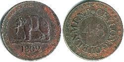 1 Stiver Königreich Großbritannien (1707-1801) / Sri Lanka / Vereinigtes Königreich von Großbritannien und Irland (1801-1922) Kupfer