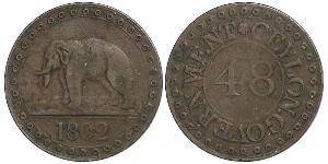 1 Stiver Regno Unito di Gran Bretagna (1707-1801) / Regno Unito di Gran Bretagna e Irlanda (1801-1922) / Sri Lanka Rame