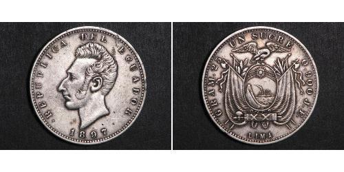 1 Sucre Ecuador Argento Antonio José de Sucre (1795 - 1830)