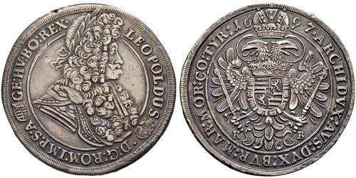 1 Thaler 匈牙利 / 神圣罗马帝国 (962 - 1806) 銀 利奥波德一世 (神圣罗马帝国)(1640-1705)