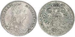1 Thaler 哈布斯堡君主國 銀 玛丽亚·特蕾西亚 (1717 - 1780)