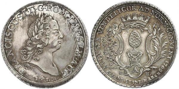 1 Thaler 奥格斯堡 (1276 - 1803 Augsburg) 銀 弗朗茨一世 (神圣罗马帝国) (1708 - 1765)