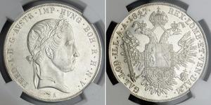 1 Thaler 奧地利帝國 (1804 - 1867) 銀 Ferdinand I of Austria (1793 - 1875)