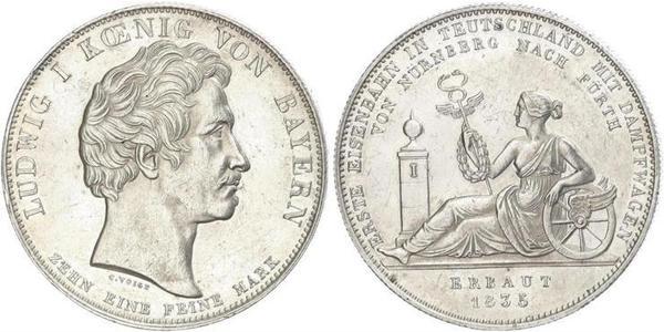 1 Thaler 巴伐利亞王國 (1806 - 1918) 銀 路德维希一世 (巴伐利亚)