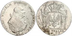 1 Thaler 普魯士王國 (1701 - 1918) 銀 腓特烈·威廉二世