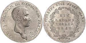 1 Thaler 普魯士王國 (1701 - 1918) 銀 腓特烈·威廉三世 (1770 -1840)